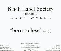 Black Label Society - Born to Lose