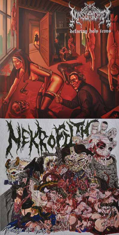 Nunslaughter / Nekrofilth - Defacing Holy Icons / Throne of Sluts