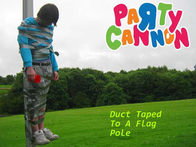 Party Cannon - Duct Taped to a Flag Pole