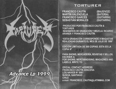 Torturer - Advance Lp 1999