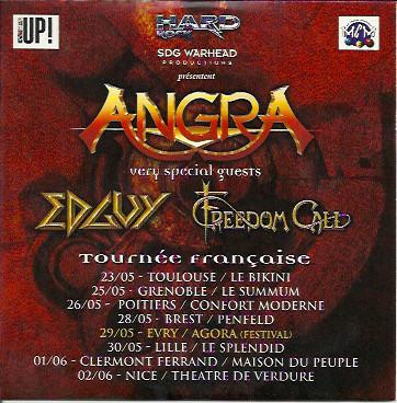 Edguy / Angra / Freedom Call - Tournée Française