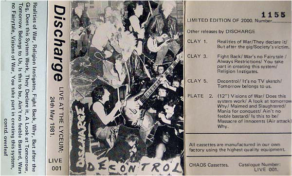 Discharge - Live at the Lyceum; 24th May 1981