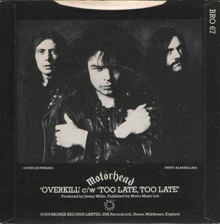 Motörhead - Overkill c/w Too Late, Too Late